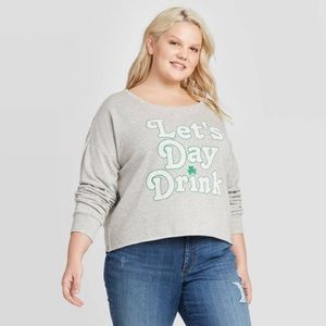 Grayson Threads💕Day Drinking Cropped Sweatshirt